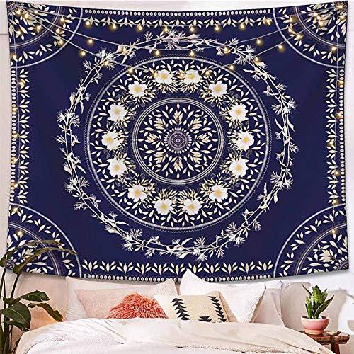 N/A Impresión 3D de tapices Tapiz de Mandala Bohemio Amarillo para Colgar en la Pared, Tapiz de Pared con Flores, alfombras de Pared Hippie, decoración de Dormitorio, Tapiz psicodélico