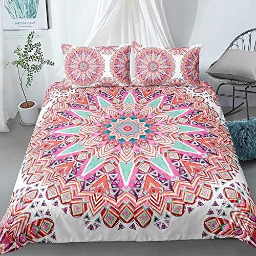 HGFHGD Bettwäsche-Set mit 3D-Mandala-Muster, für Erwachsene und Kinder, Rosa