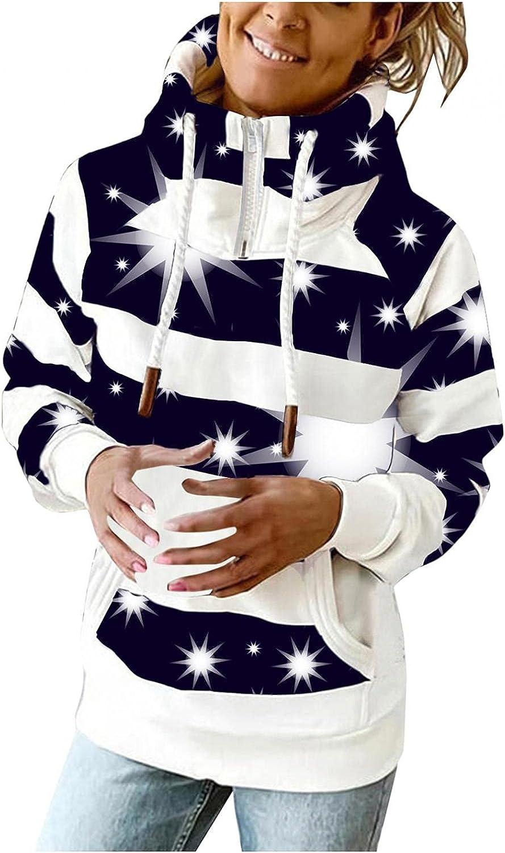 COMVALUE Hoodies for Women,Women Zipper Printed Casual Long Sleeve Lightweight Striped Pullover Sweatshirts