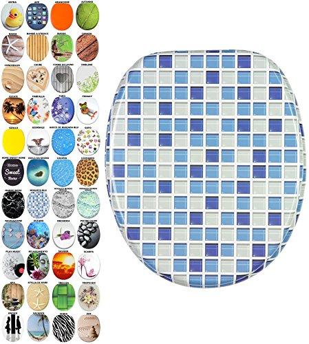 Sedile WC con chiusura ammortizzata, grande scelta di belli sedili WC da legno robusto e di alta qualità (Mosaico blu)