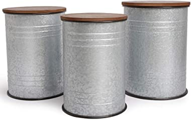 Farmhouse Accent Side Table - Galvanized Rustic End Table. Metal Storage Bin Wood Cover. Coffee or Cocktail Table. Nesting Pi