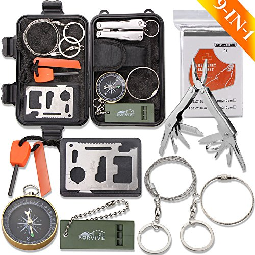 Emergency Survival Kit, Monoki 9-In-1 Compact Outdoor Survival Gear Kits Portable EDC Emergency Survival Tool Set with Gift Box for Camping Hiking Hunting Climbing Travelling Wilderness Adventures (C)