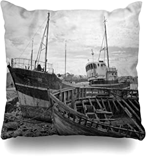 Ahawoso Throw Pillow Cover Crash Blue Beach Abandoned Fishing Ship On Coast Derelict Black Parks Ashore Big Boat Bretagne Broken Home Decor Pillow Case Square Size 16x16 Inches Zippered Pillowcase