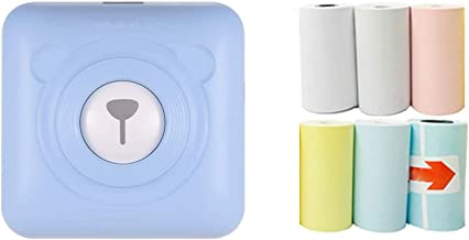 $68 » USB Portable Bluetooth Printer, Mini Thermal Wireless Printer, Easy to Carry, 6 Rolls of Printing Paper Included (Blue)