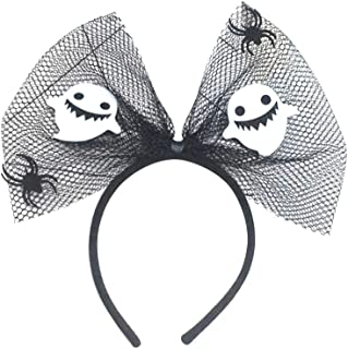 Beaupretty Halloween Spider Ghost Headband Mesh Bowknot Hair Hoop Headpiece for Cosplay Party Halloween Costume (Fat Ghost)