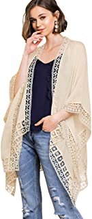 Umgee Crochet Chic! Trimmed Bell Sleeve Open Front Kimono