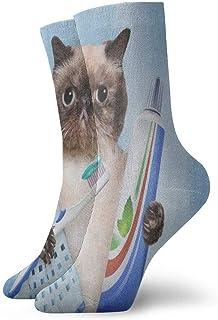 BEDKKJY, Calcetines Deportivos Cepillado de Dientes Gato Gatito Maravilloso Calcetines Deportivos para Mujer Liquidación de Calcetines navideños para niños