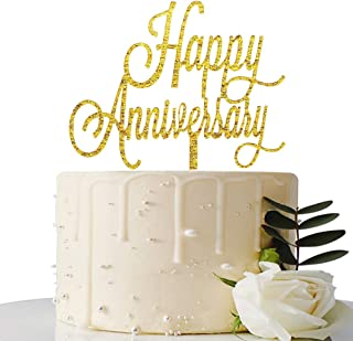 Gold Glitter Happy Anniversary Cake Topper - for Wedding Anniversary/Bridal Shower/Engagement/Anniversary Party Decorations Supplies