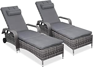 Adumly 2PC Rattan Chaise Lounge Chair Recliner Cushioned Patio Furni Adjustable W/Wheel