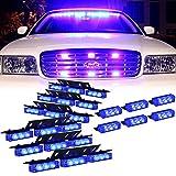 Blue 54X LED Deck Visor Flashing Warning Light for Volunteer Firefighter Vehicles - Interior Emergency Strobe Lights for Dash Grille
