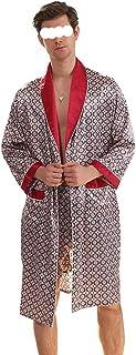 JJZXD Nuevo Albornoz Impresión para Hombre Tallas Grandes Toma con Pantalones Cortos 2 PCS Seda Satin Pijamas Kimono Home Bath Bath Bath Vierño Masculino camisón (Color : A, Size : XXXX-Large)