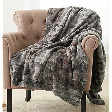Pinzon Faux Fur Throw Blanket 50  x 60 , Frost Grey