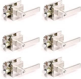 Keyed Entry Door Knob Brushed Nickel Modern Durable Door Hardware-Door Handles with Keys and Locks-Front/Exterior/Bedroom/Bathroom Door Lock Set, Reversible Right and Left Handed-6pack