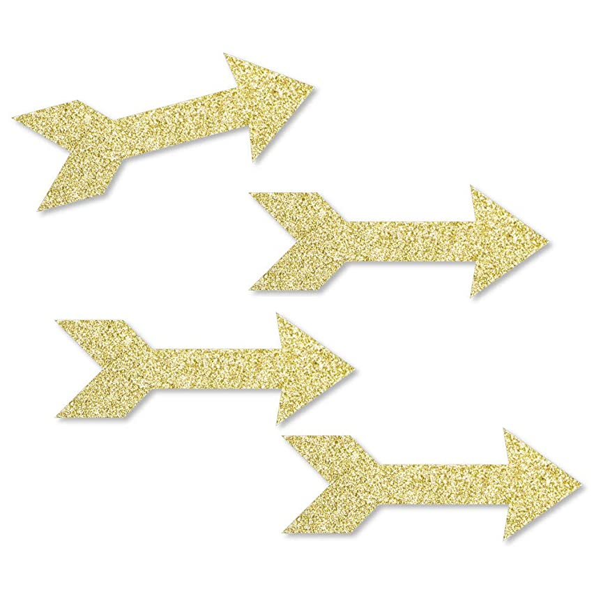 Gold Glitter Arrow - No-Mess Real Gold Glitter Cut-Outs - Boho Tribal Baby Shower, Bachelorette or Birthday Party Confetti - Set of 24