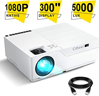 Projector, CiBest Native 1080p LED Video Projector 5500 Lux, 300 Inch Image Display Ideal for PPT Business Presentations Home Theater, Compatible with HDMI,VGA,USB,Fire TV Stick,Laptop,PS4,Xbox