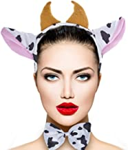 Lux Accessories Girls Xmas Christmas Halloween Cow Horn Bow Tail Ear Costume Accessories Set (3PCS)