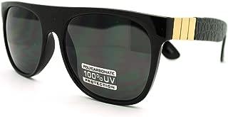 Mens Luxury Metal Trim Flat Top Mob Horned Sunglasses