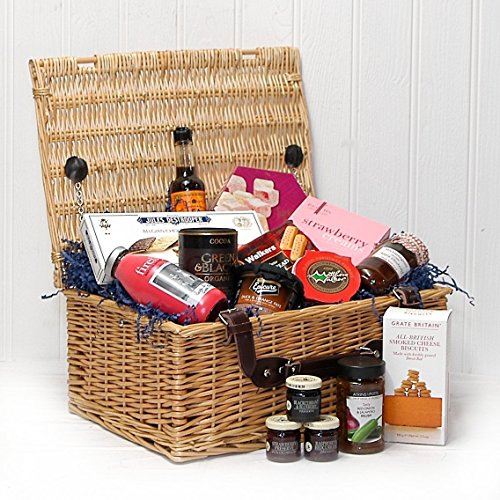 The Fitzroy Luxury Wicker Gift Food Hamper Basket (15 Items) - Gift Ideas for Mum, Mothers Day, Birthday, Corporate, Business gifts, Dad, Fathers Day, Anniversary, Thank you gifts