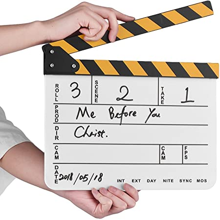 Honeytecs Dry Erase Acrylic Director Film Clapboard Movie TV Cut Action Scene Clapper Board Slate with Yellow/Black Stick, White