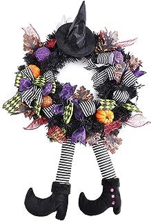 FLASH WORLD Witch Halloween Wreath,24''×24'' Hat Legs Pumpkin Door Decorations, Artificial Handmade Wreath for Front Door or Indoor Wall Décor to Celebrate Halloween (Round)