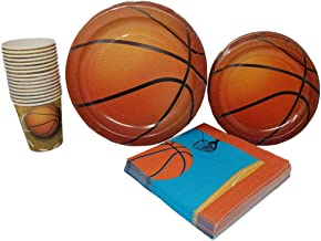 Basketball Party Supplies (65+ Pieces for 16 Guests!), Hoops Birthday Kit, Basketball Tableware Pack, Basketball Decorations