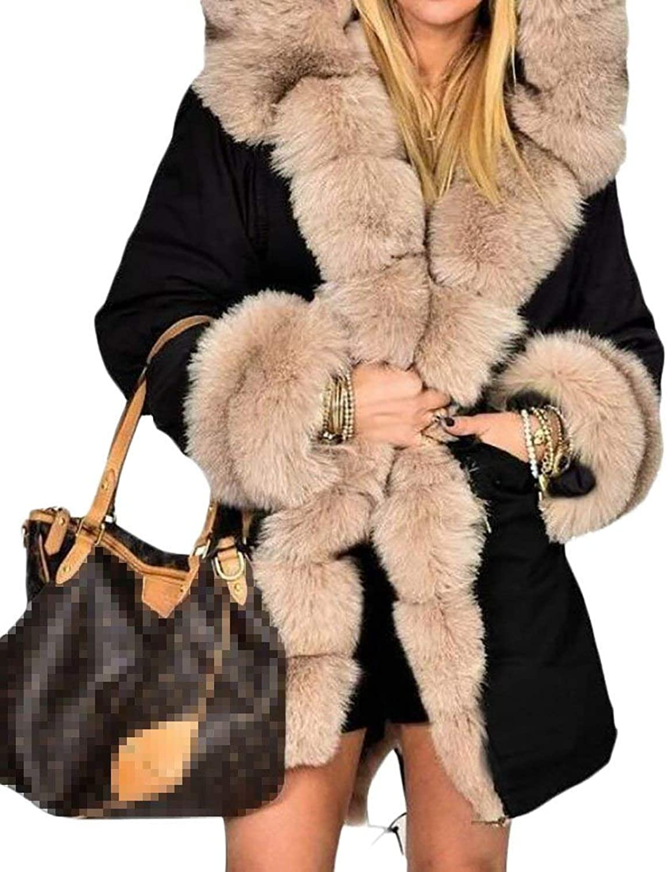 BU2H Women's Faux Fur Coat Casual Hoodies Parka Long Trench Jacket Outwear
