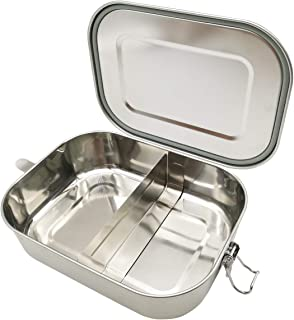 UPTRUST Leak Proof Stainless Steel Lunch Food Container, Large Bento Boxes Metal Lunch Box for Kids or Adults - Lockable Clips-Adjustable Divider included -Dishwasher Safe, BPA free (1400ML/47oz)