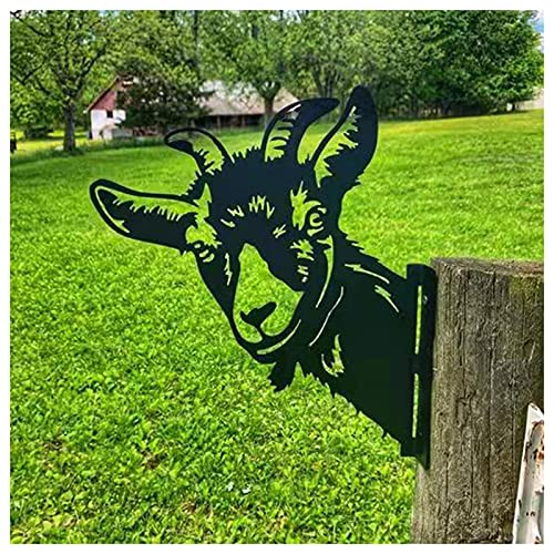 WHIO Silhouettes d'animaux en fer forgé en forme de chèvre - Décoration d'extérieur à suspendre - Décoration pour la maison, le jardin, le balcon, la pelouse, le parc - 22 x 29 cm