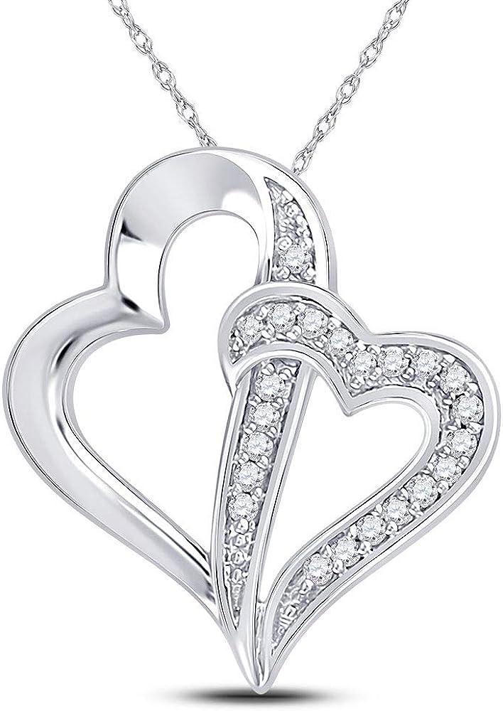 FB Ranking TOP3 Jewels 10K White Gold Nippon regular agency Womens Round Diamond Double Hear Linked