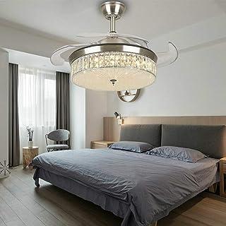 Moderno ventilador de techo LED de 42 pulgadas con iluminación, luz de ventilador, lámpara de techo acrílica, lámpara de techo, mando a distancia, lámpara de araña retráctil