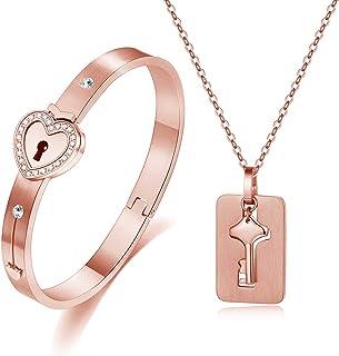 Lock Bracelet and Key Necklace Set for Couples