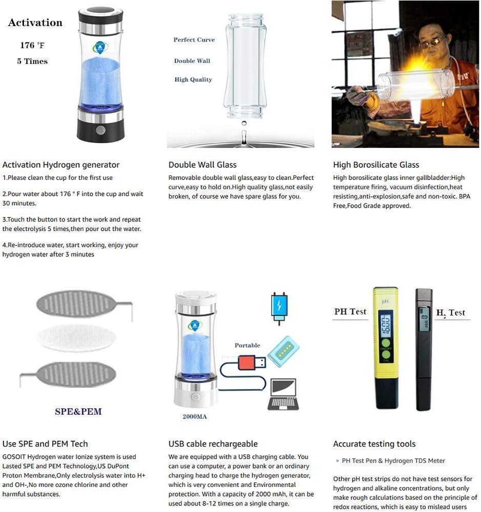 FENGLI Draagbare 3-minuten waterstofwaterfles, oplaadbare geïoniseerde watergenerator Maker, alkalische energiebeker gehydrogeneerde waterfles, 400ml. (kleur: paars) Paars
