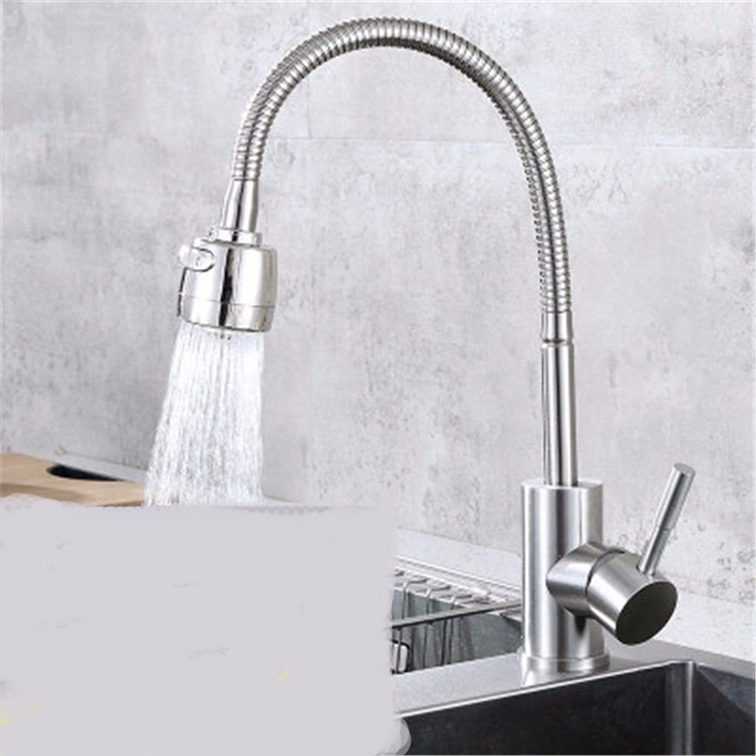 Hlluya Professional Sink Mixer Tap Kitchen Faucet The tap 304 stainless steel hot and cold dish washing basin single faucet swivel sitting in line,F