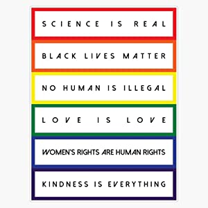 Science Is Real Black Lives Matter (Block Rainbow Black Design) Sticker Sticker Vinyl Bumper Sticker Decal Waterproof 5