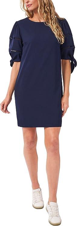 3/4 Sleeve Emoss Crepe Dress w/ Faggoting