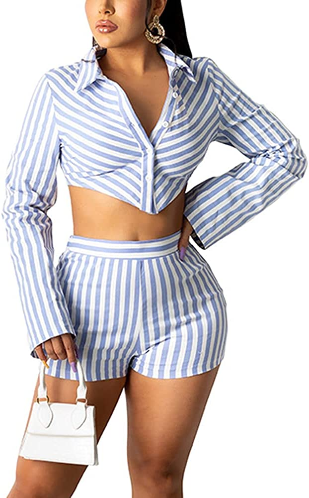 Wuitrie Womens Sexy Stripe 2 Piece Outfits Long Sleeve Shirt with Short Pants Elegant Business Suit Sets