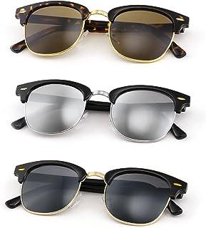 FEISEDY Sunglasses for Men Women Matte Finish Semi-Rimless Frame Driving Sun glasses Mirror 100% UV Blocking B2242