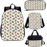 Dragon - Juego de mochila de 43 cm con bolsa de almuerzo, diseño de estrellas coloridas de Pixie Dust 4 en 1