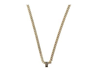 AllSaints Baguette Curb Chain Necklace (Black Diamond) Necklace