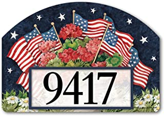 Yard DeSigns Studio M Geraniums with Flags Patriotic Floral Decorative Address Marker Yard Sign Magnet, Made in USA, Superior Weather Durability, 14 x 10 Inches