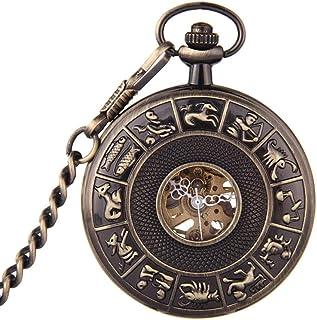 AI LI WEI Zodiac Watch.Retro Mechanical Pocket Watch, Chest Clamshell Fashion Watch, Students Table, Men and Women Fashion Mechanical Watches.