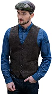 Tweed Vest Men, 5 Buttons, Made in Ireland, Brown
