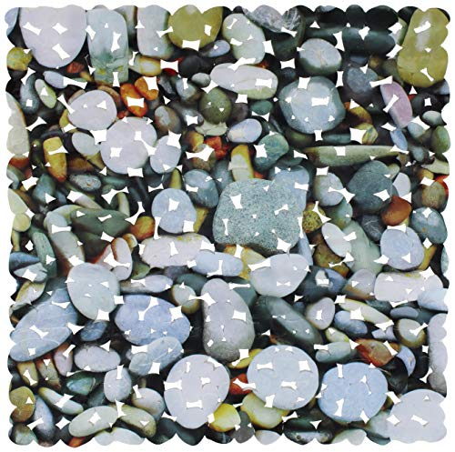 Brandsteller - Alfombrilla de ducha con 4 diseños impresos, rosas, conchas, piedras y gotas de agua, 53 x 53 cm o 70 x 36 cm