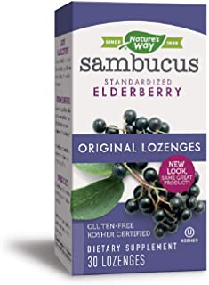 Nature's Way Original Sambucus Elderberry Lozenges, Herbal Supplements with Vitamin C, Gluten Free, Vegetarian, 30 Count