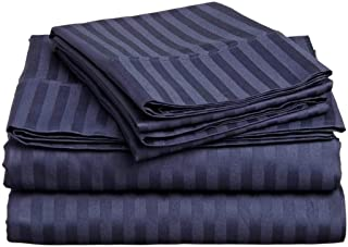 Cotton Bed Sheets 4 Piece Set 400 Thread Count 100% Extra Long Staple Luxurious & Hypoallergenic Bedding Hotel & Home Collection Deep Pocket 10-18 inches (Twin-XL,Navy Blue Stripe)