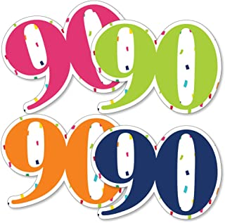 90th Birthday - Cheerful Happy Birthday - Ninety Shaped Decorations DIY Colorful Ninetieth Birthday Party Essentials - Set of 20