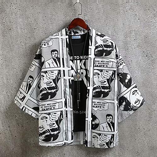 Camiseta Japonesa De Anime Hombre Hip Hop Túnicas Vestido Kimono Suelto Yukata Hombres Mujeres Harajuku Estilo Cardigan Graffiti Comic Coat Chaquetas-White_S