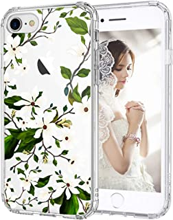 iPhone 7 Case, iPhone 8 Case, MOSNOVO Floral Magnolia Flower Pattern Clear Design Transparent Plastic Back Phone Case with TPU Bumper Protective Case Cover for iPhone 7 / iPhone 8