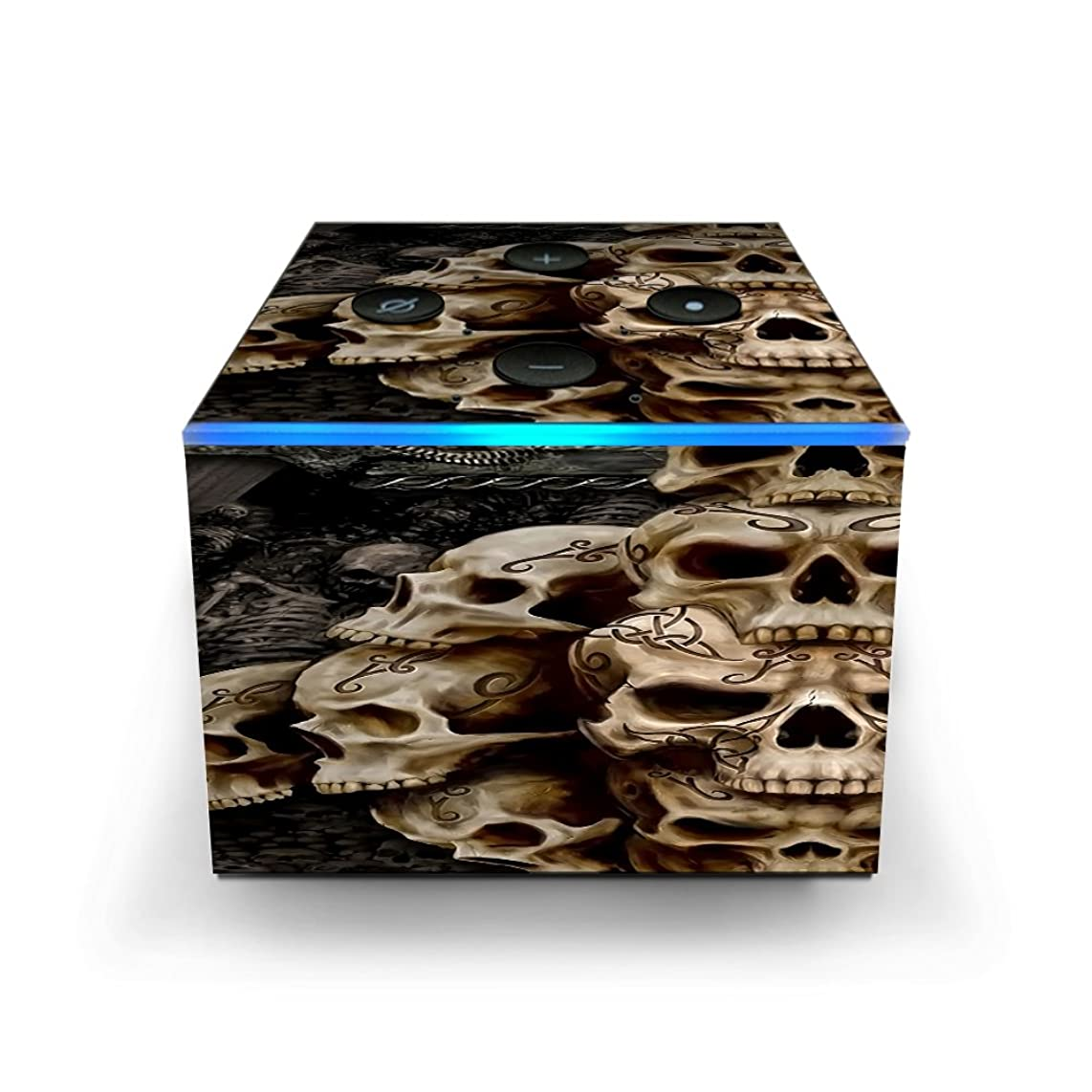 Skin Decal Vinyl Wrap for Amazon Fire TV Cube & Remote Alexa Skins Stickers Cover/Wicked Skulls Tattooed