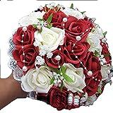 xiangshang shangmao Bouquet de mariée de Mariage Nouveau Bouquet de Fleurs de Perles de Roses Rouges Roses